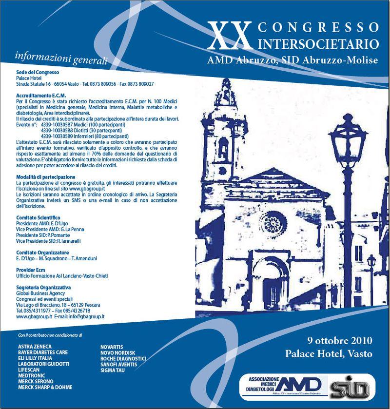 Vasto, XX Congresso Intersocietario AMD Abruzzo, SID Abruzzo-Molise