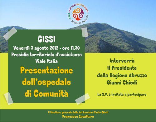 Gissi, 3 agosto 2012 ore 11.30 - Presentazione dell'Ospedale di comunità