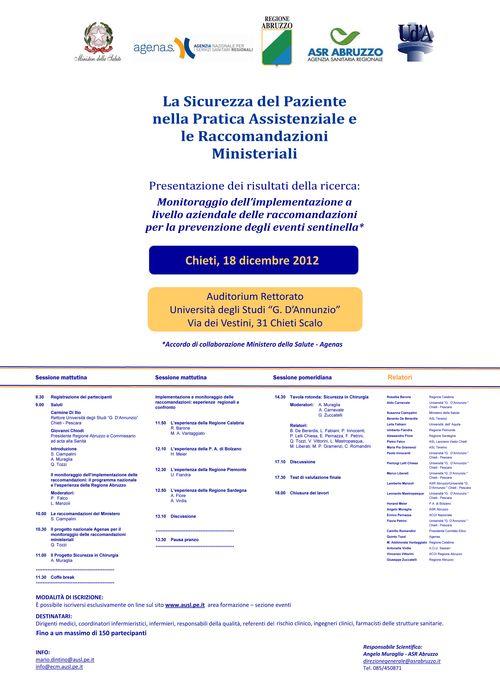 La sicurezza del paziente nella pratica assistenziale e le raccomandazioni ministeriali