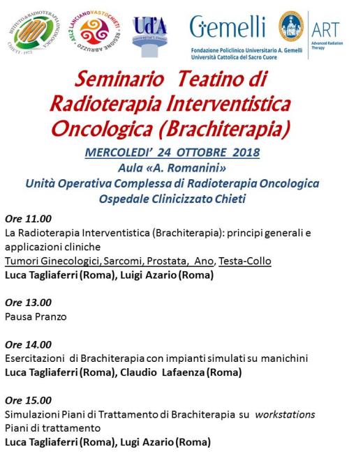 101824 - docenti corso Brachiterapia presso Radioterapia Chieti