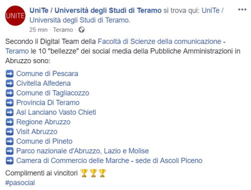 Top ten social PA Abruzzo